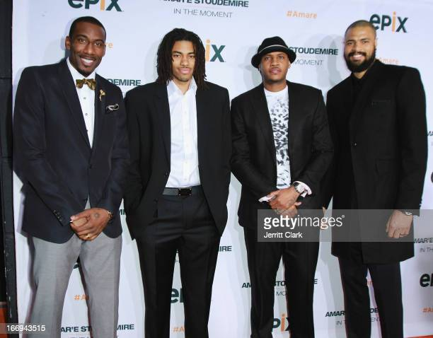 New York Knicks players Amar'e Stoudemire Chris Copeland Carmelo Anthony and Tyson Chandler attend the Amar'e Stoudemire In The Moment New York...