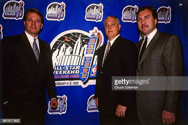 New York Knicks' President David Checketts helps unveil the official 1998 NBA AllStar Weekend logo during a press conference at Madison Square Garden...