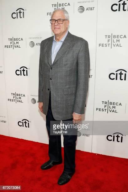 New York Knicks President Phil Jackson attends Tribeca Talks during the 2017 Tribeca Film Festival at Borough of Manhattan Community College on April...
