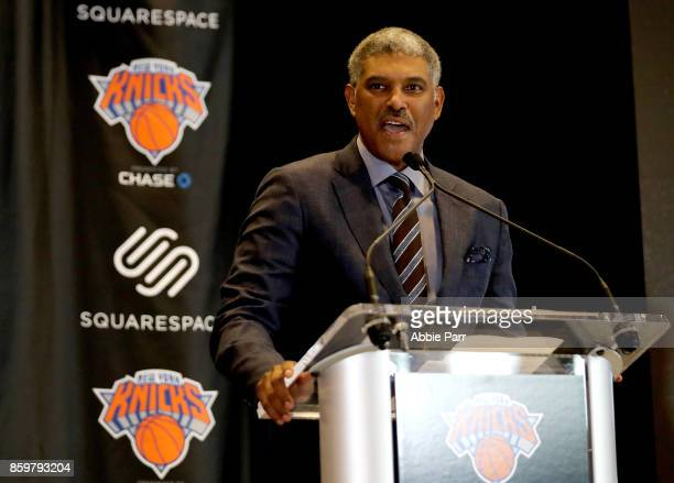 New York Knicks President Steve Mills speaks at the unveiling of the Knicks' jersey sponsorship with Squarespace at Madison Square Garden on October...