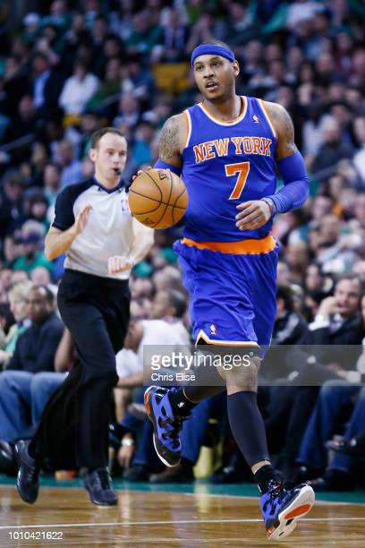 New York Knicks small forward Carmelo Anthony brings the ball upcourt during the New York Knicks 10085 victory over the Boston Celtics at TD Garden...