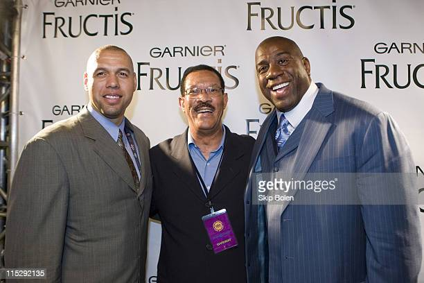 New York Knicks Tracy Murray Alfred Butch Beard Jr and Earvin 'Magic' Johnson arriving at the 2008 NBPA AllStar Gala at the Ernest N Morial...