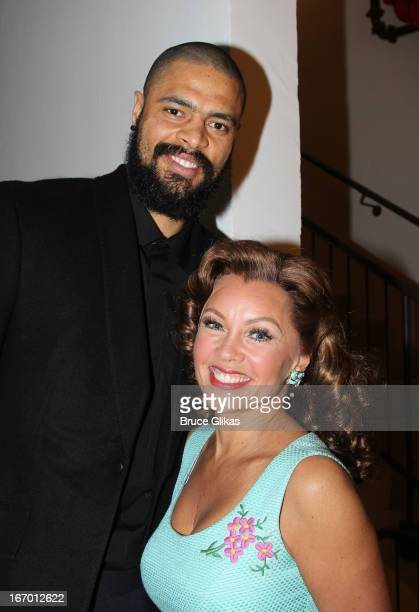 New York Knicks Tyson Chandler and Vanessa Williams pose backstage at the hit play 'The Trip to Bountiful' at The Stephen Sondheim Theater on April...