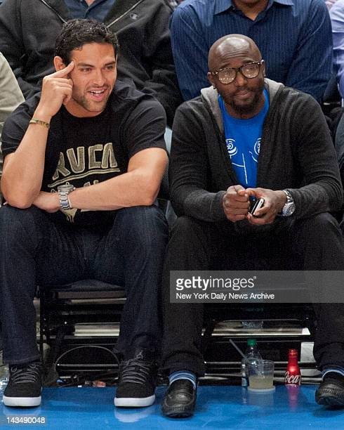 New York Knicks vs Los Angeles Clippers NY Jets QB Mark Sanchez withwide receiver Santonio Holmes at NY Knicks game sitting courtside at Madison...
