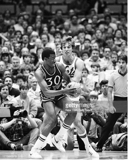 New York Knicks vs New Jersey Nets Basketball Knick Bernard King handles pressure by Net Mike O'Korer