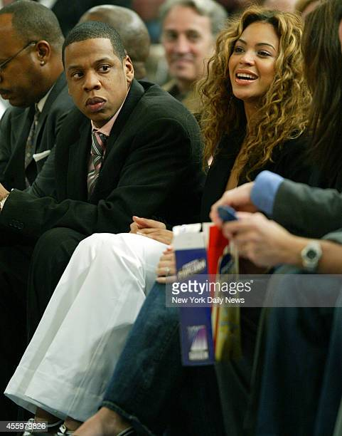 New York Knicks vs. New York Nets at Madison Square Garden. First half, Jay-Z and Beyonce.