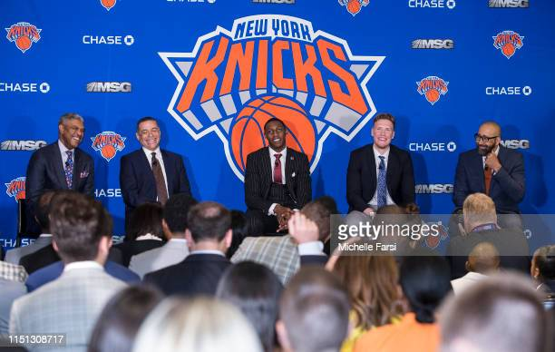 New York Knicks welcome RJ Barrett and Ignas Brazdeikis to the team and the city on June 21 2019 at Madison Square Garden in New York New York NOTE...