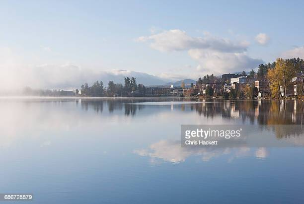 usa, new york, lake placid village, mirror lake - mirror lake stock pictures, royalty-free photos & images