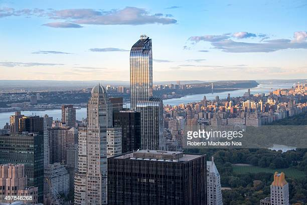 New York landmarks and attractions New York city skyline with the curved top One57 building as seen from the Rock Observation Deck One57 formerly...