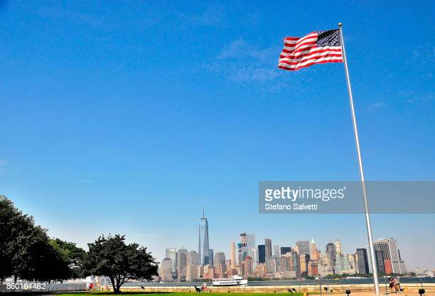 USA, New York, large view Brooklyn from Liberty island