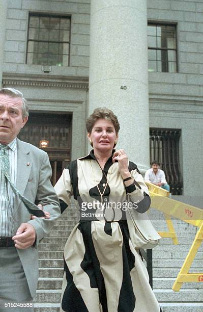 New York: Leona Helmsley descends the steps of U.S. District Court here following the day's session in her tax evasion trial. During testimony, a...