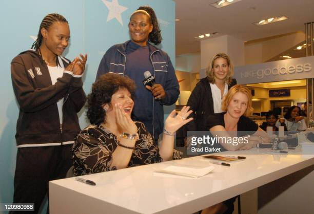 New York Liberty basketball playerys Vicky Johnson Kym Hampton Becky Hammon author Laurie Sue Brockway and Cynthia Nixon are seen at the grand...
