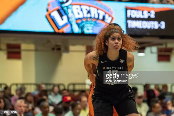 New York Liberty center Amanda Zahui B boxes out during the first half of the WNBA game between the Phoenix Mercury and New York Liberty on June 26...