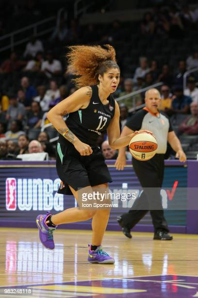 New York Liberty center Amanda Zahui B drives to the basket during a WNBA game between the Los Angeles Sparks and the New York Liberty on June 24 at...