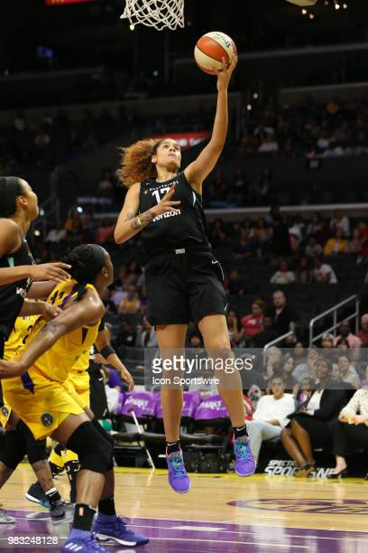 New York Liberty center Amanda Zahui B lays the ball up during a WNBA game between the Los Angeles Sparks and the New York Liberty on June 24 at...