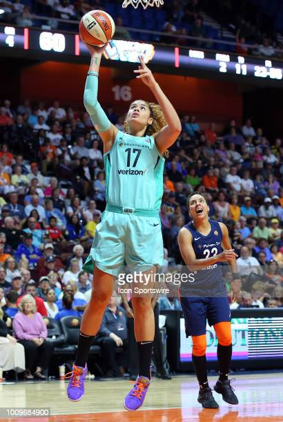 New York Liberty center Amanda Zahui B makes a basket during a WNBA game between New York Liberty and Connecticut Sun on August 1 at Mohegan Sun...