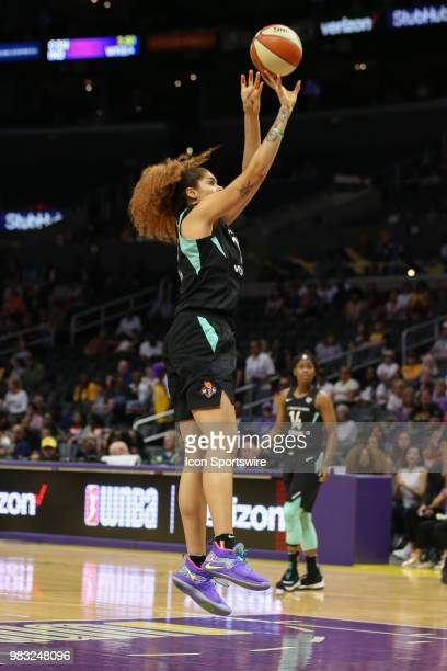 New York Liberty center Amanda Zahui B shoots the ball during a WNBA game between the Los Angeles Sparks and the New York Liberty on June 24 at...