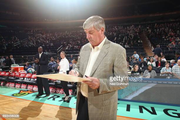New York Liberty head coach Bill Laimbeer diagrams a play against the Atlanta Dream on June 7 2017 at Madison Square Garden in New York New York NOTE...