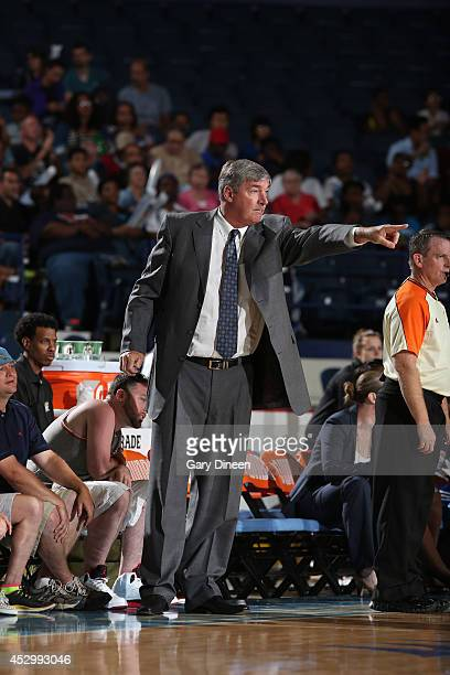New York Liberty Head Coach Bill Laimbeer directs his team during the game against the Chicago Sky on July 31 2014 at Allstate Arena in Rosemont...