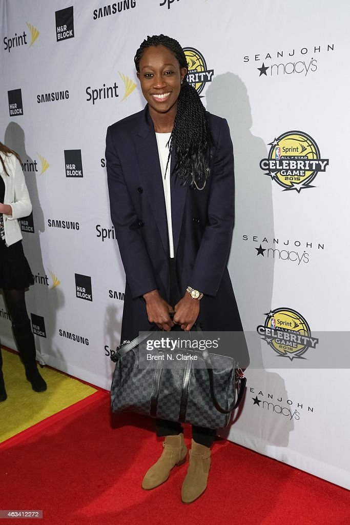 New York Liberty player Tina Charles arrives for the NBA All-Star Celebrity Basketball Game 2015 at Madison Square Garden on February 13, 2015 in New York City.