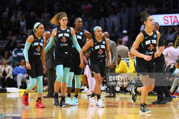 New York Liberty taking a time out against the Los Angeles Sparks during a WNBA basketball game at Staples Center on June 15, 2019 in Los Angeles,...