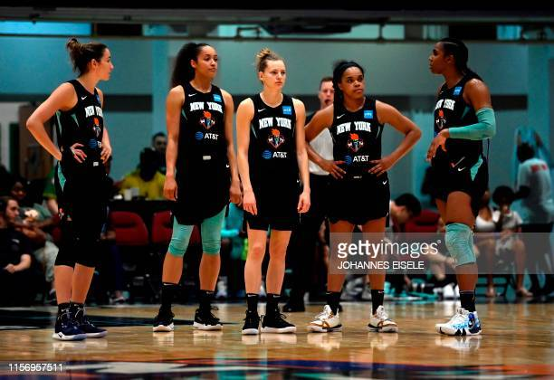 New York Liberty's guard Marine Johannes attends the WNBA match New York Liberty against Los Angeles Sparks on July 20, 2019 in the Westchester...
