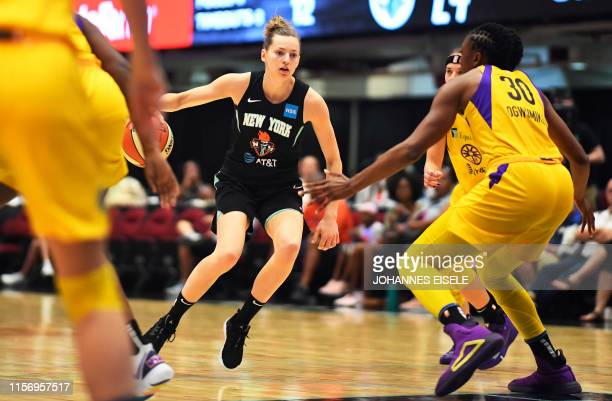 TOPSHOT New York Liberty's guard Marine Johannes handles the ball during the WNBA match New York Liberty against Los Angeles Sparks on July 20 2019...