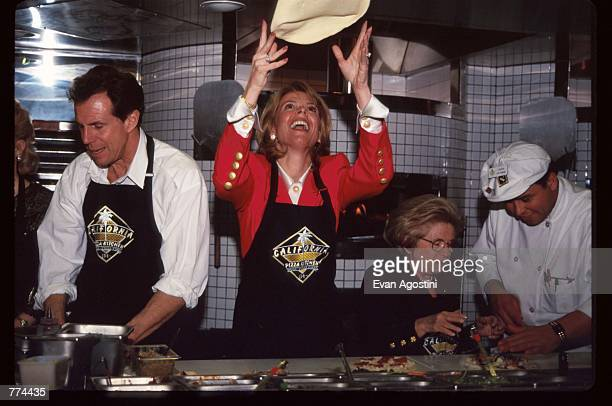 New York Lieutenant Governor Betsy McCaughey and Dr Ruth Westheimer stand in the kitchen at the grand opening of California Pizza Kitchen near...