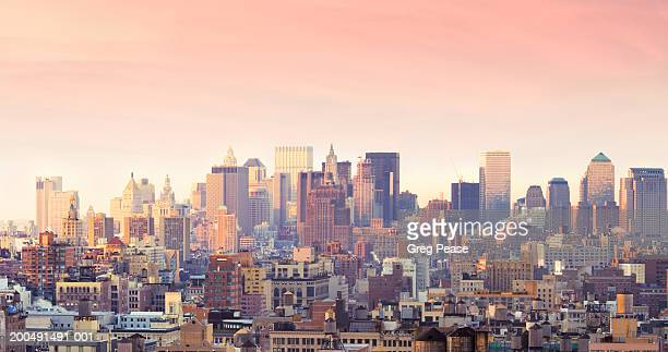 """usa, new york, lower manhattan, skyline, sunrise, elevated view - """"greg pease"""" stock pictures, royalty-free photos & images"""