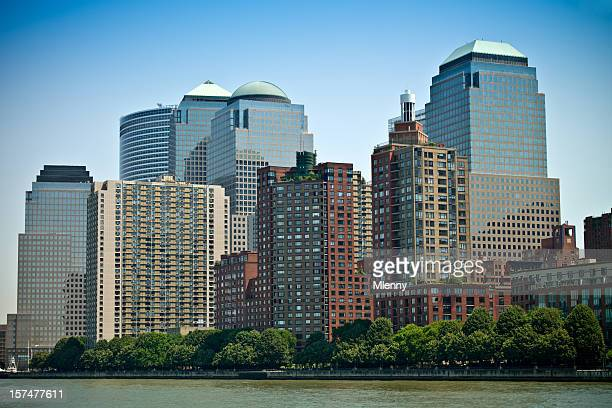 new york lower manhattan skyscrapers - mlenny stock pictures, royalty-free photos & images