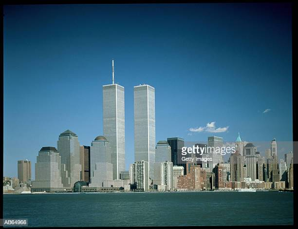 usa, new york, manhattan, city skyline with twin towers - twin towers manhattan stock photos and pictures