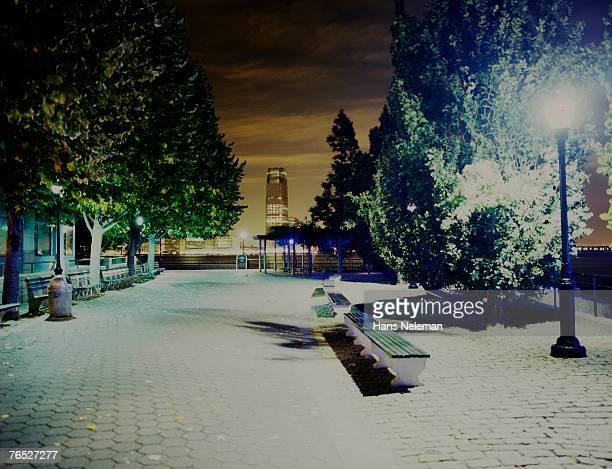 New York, Manhattan, illuminated park at night