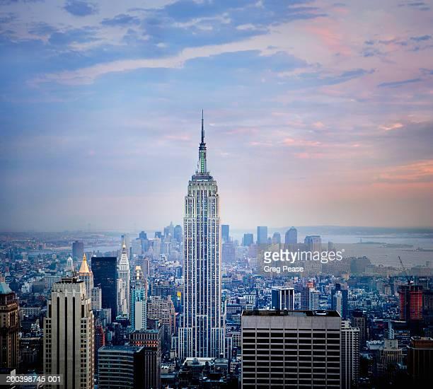 USA, New York, Manhattan, midtown skyline, sunset
