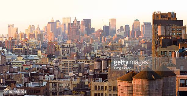 """usa, new york, manhattan, skyline, sunrise, elevated view - """"greg pease"""" stock pictures, royalty-free photos & images"""