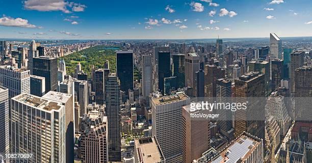 ニューヨークマンハッタンの超高層ビルの街並みのセントラルパークのパノラマビュー - アッパーイーストサイドマンハッタン ストックフォトと画像