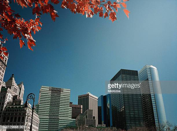 usa, new york, manhattan, skyscrapers in battery park city - microzoa stock pictures, royalty-free photos & images