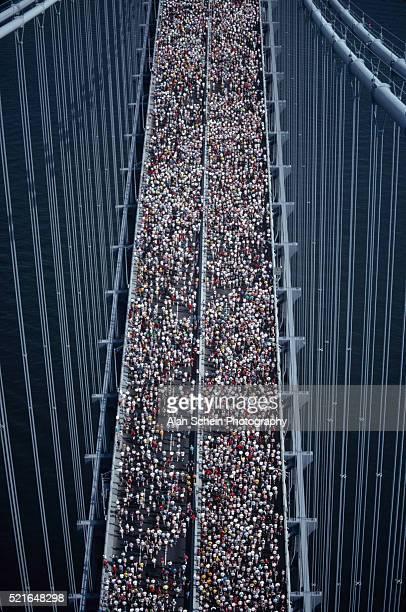 New York Marathon Runners Crossing Bridge