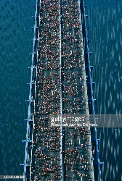 USA, New York, marathon runners on Verrazano Bridge, aerial view