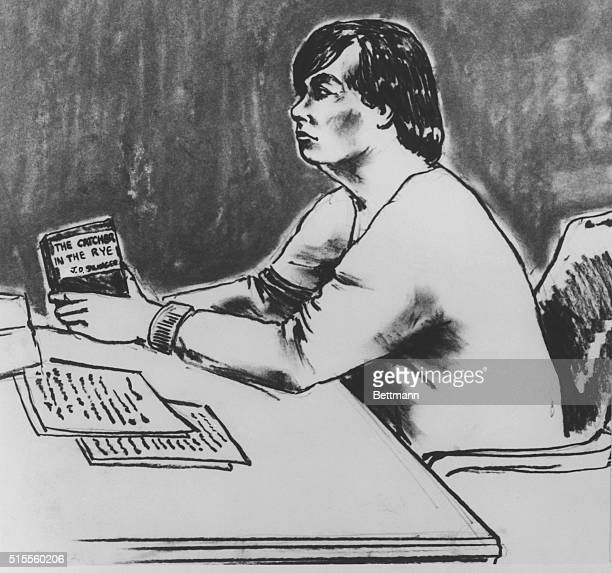 Mark David Chapman accused killer of John Lennon holds a new copy of JD Salinger's Catcher in the Rye during appearance in Manhattan Criminal Court...