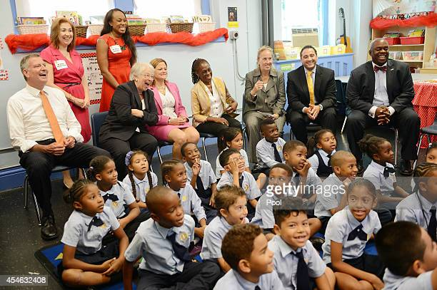 New York Mayor Bill de Blasio, along with Schools Chancellor Carmen Farina, City Council Speaker Melissa Mark-Viverito, Manhattan Boro President Gale...
