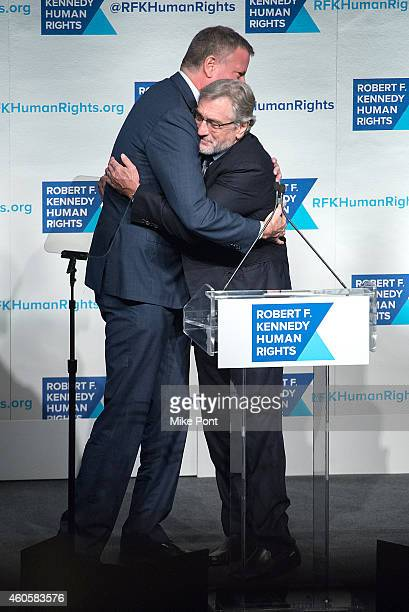 New York Mayor Bill de Blasio and Actor Robert De Niro attend the 2014 Robert F Kennedy Ripple Of Hope Awards at the New York Hilton on December 16...
