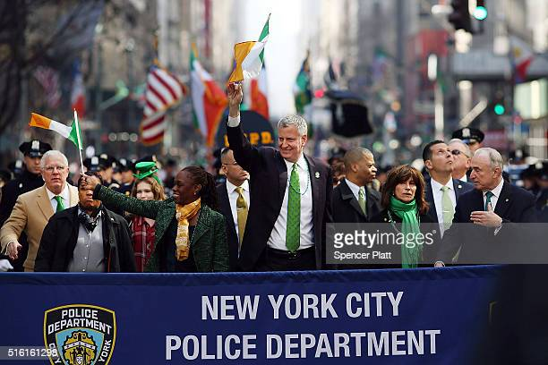 New York Mayor Bill de Blasio and his wife Chirlane McCray marches in the annual St Patrick's Day parade one of the largest and oldest in the world...