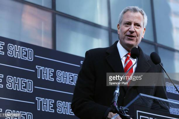 New York Mayor Bill de Blasio speaks at a dedication ceremony for The Shed a new cultural space at Hudson Yards on April 01 2019 in New York City...
