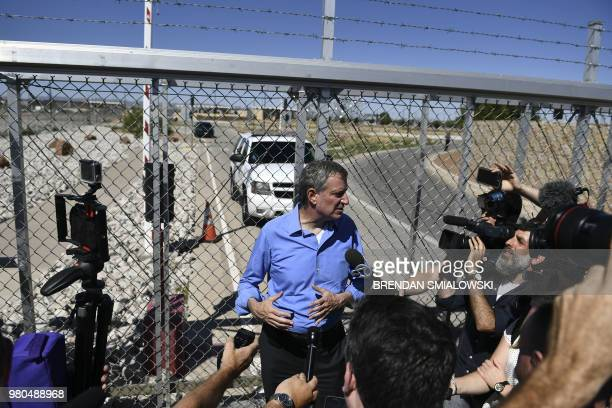 New York mayor Bill de Blasio speaks to reporters after trying to enter the border crossing at the Tornillo Port of Entry near El Paso, Texas, June...