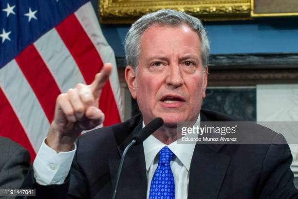 New York Mayor Bill de Blasio speaks to the media during a press conference at City Hall on January 3, 2020 in New York City. The NYPD will take...