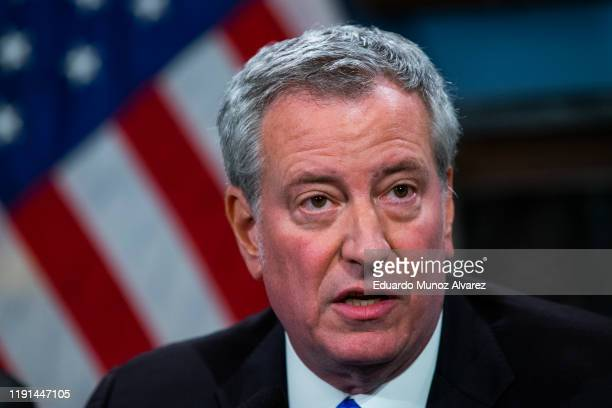 New York Mayor Bill de Blasio speaks to the media during a press conference at City Hall on January 3 2020 in New York City The NYPD will take...