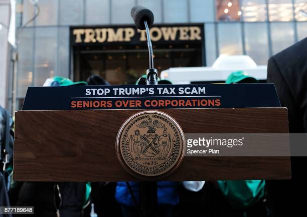New York Mayor Bill de Blasio's podium stands in front of Trump Tower as the mayor joins other Democratic officials labor members and activists to...