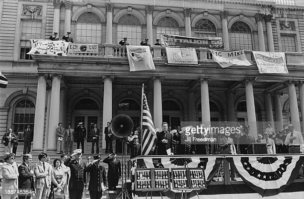 New York mayor Ed Koch attends the FDNY Medal Day ceremony at City Hall New York City 1980