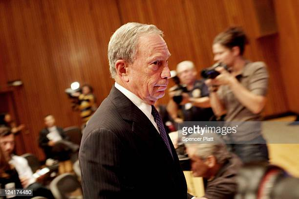 New York Mayor Michael Bloomberg enters a news conference to discuss a new terrorist threat on September 8 2011 in New York City US officials...