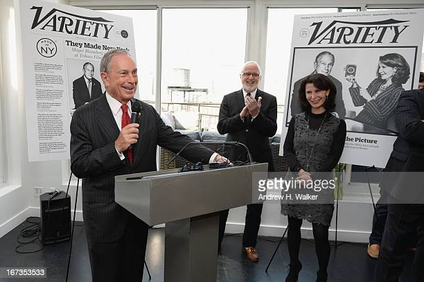 New York Mayor Michael Bloomberg Gerry Byrne and Katherine Oliver attend Capital Of Content Party in partnership With Tribeca on April 24 2013 in New...